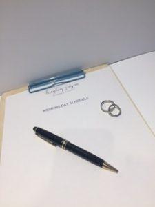 Creating a wedding day schedule by Essex wedding planner