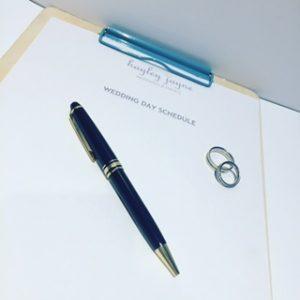 Creating a wedding day schedule image by Essex wedding planner