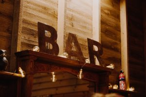 Wedding bar sign with edison light bulbs for DIY bar