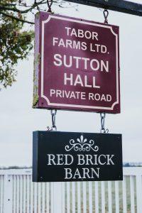 Sutton Hall & Red Brick Barn Wedding venue sign