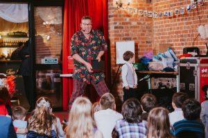 Children's entertainer keeping children entertained at Essex wedding