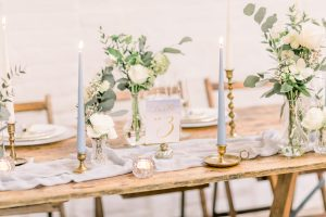 Blue & Gold Wedding Table  Styling with gold table number