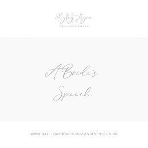 Points to include in your brides speech from Essex wedding planner