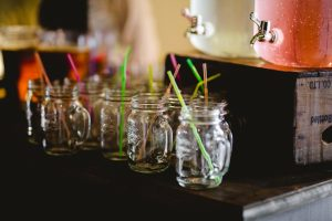 Wedding drink ideas -mason jars-straws-drink dispensers on rustic create. Perfect your a DIY bar