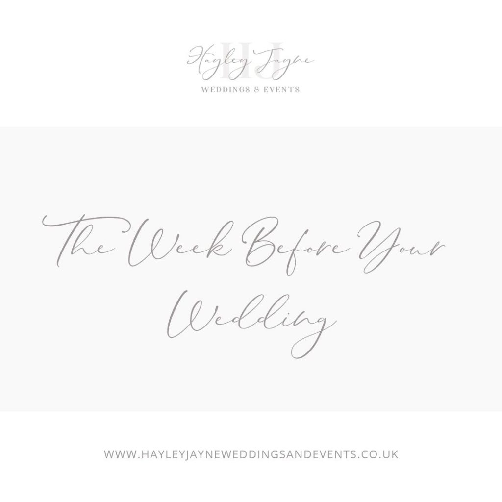 Plans to finalise a week before your wedding by Hayley Jayne Weddings & Events