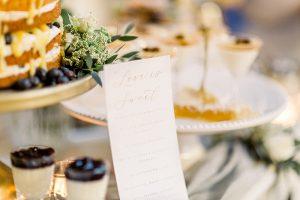 Wedding dessert table and dessert menu