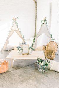 Children's tepee set up at wedding