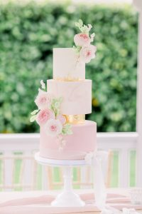 Pink, White & Gold wedding cake with sugar flowers | Essex Wedding Planner