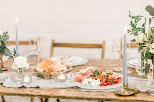 Colourful sharing platter on elegant styled table / Essex Wedding Planner