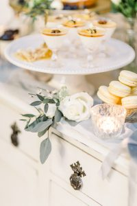 dessert table with cut glass vase and white rose | Essex wedding planner
