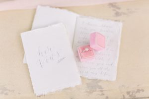 Wedding vow book with engagement ring in ring box | Essex Wedding Planner