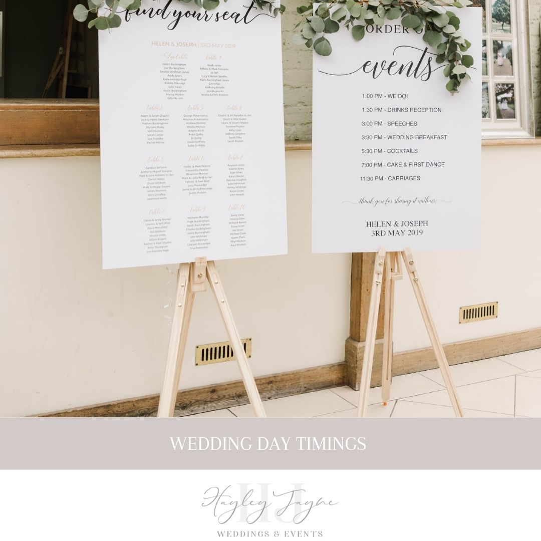 Timings for your wedding day | Essex Wedding planner