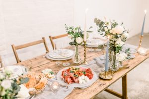 Colourful wedding food on a rustic trestle table | Essex Wedding Planner