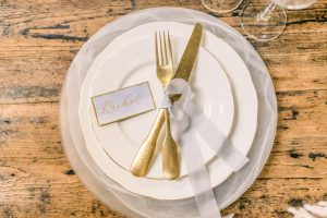 Soft blue wedding table place setting | Essex Wedding Planner